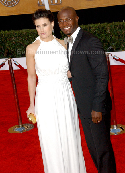 Idin Menzel and Taye Diggs.