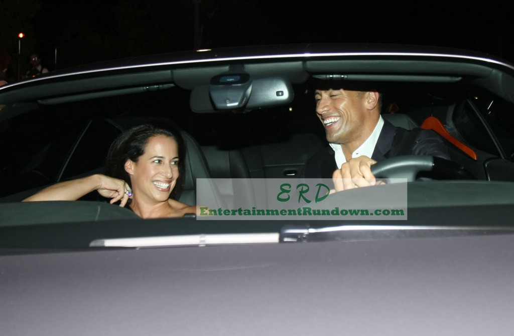 Actor dwayne johnson formerly known as the rock leaves dinner with his