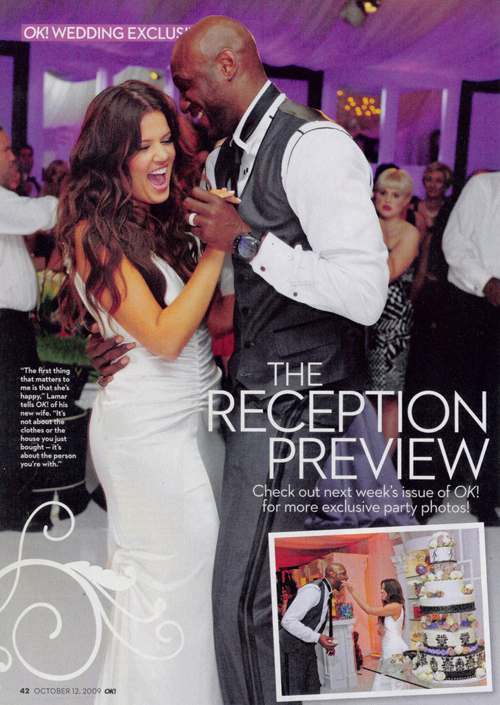 OK magazines full spread of Khloe Kardashian and Lamar Odom 39s wedding