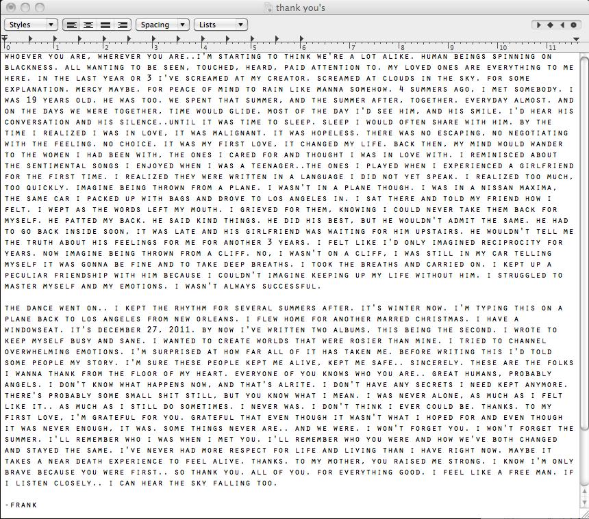 Frank Ocean First Love Letter
