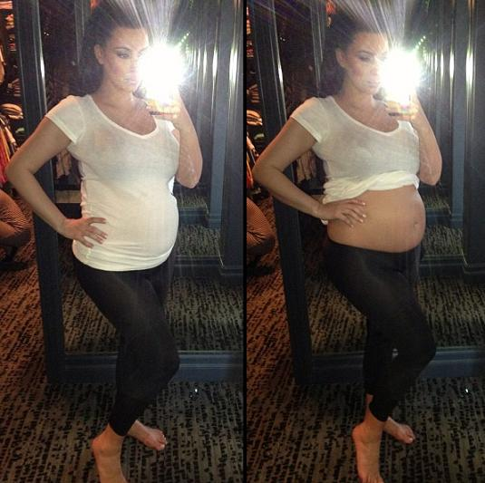 Kim Kardashian Bares Baby Bump