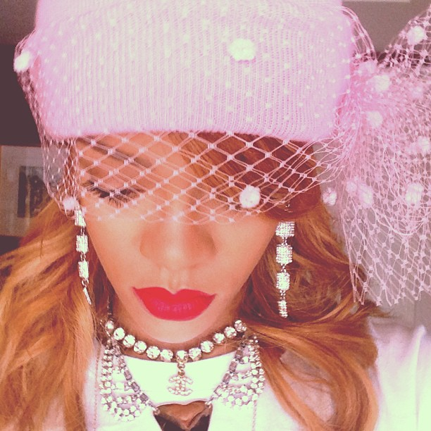 Rihanna Veiled Beanie