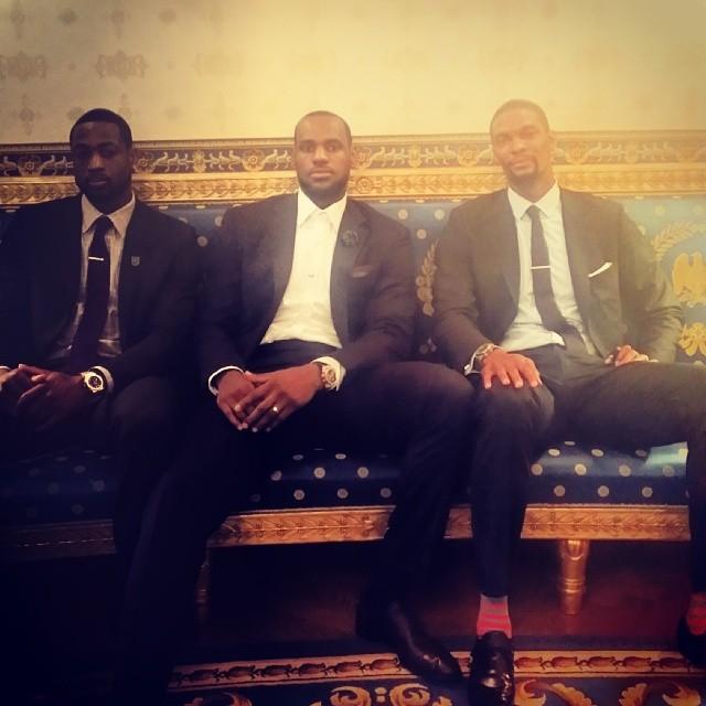 Dwyane Wade LeBron James Chris Bosh Miami Heat White House 2014 7