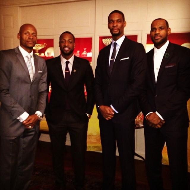 Wade James Bosh Allen Miami Heat White House 2014 4