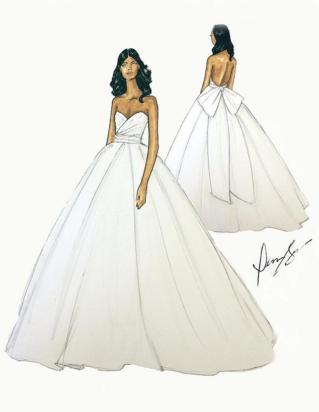 Sketch of Gabby gown via E!