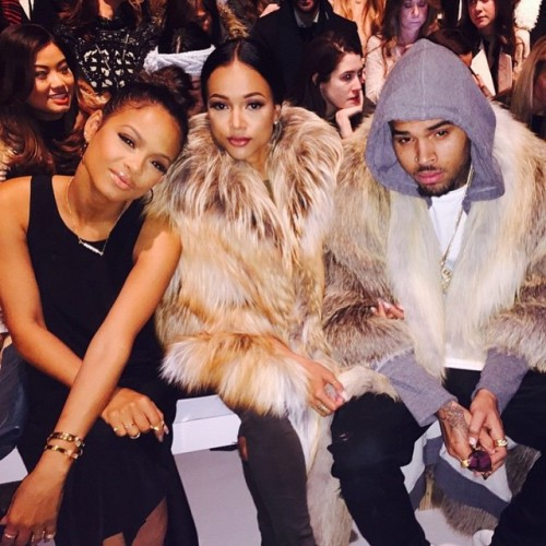 Chris Brown Karruech Tran Christina Milian Fashion week 2015 furs